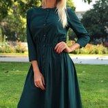 Платье-Рубашка ткань софт темно-зеленого цвета скл.1 арт. 43878