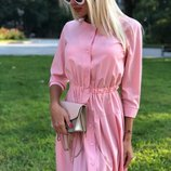 Платье-Рубашка ткань софт цвета пудра скл.1 арт.43877