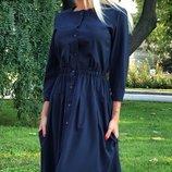 Платье-Рубашка ткань софт темно-синего цвета скл.1 арт.43876