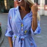 Платье тонкая полоска хлопок с вышивкой арт.43874 скл1