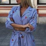 Платье тонкая полоска с вышивкой скл.1 арт. 43870