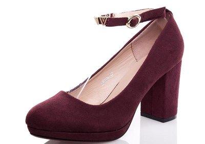 8aff4de40909 Женские замшевые туфли марсал на среднем каблуке с ремешком вокруг 36 37 38  39 40 бордо