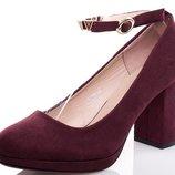 Женские замшевые туфли марсал на среднем каблуке с ремешком вокруг 36 37 38 39 40 бордо