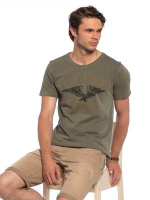 Хаки мужская футболка LC Waikiki / Лс Вайкики с рисунком и надписью Indigo на груди