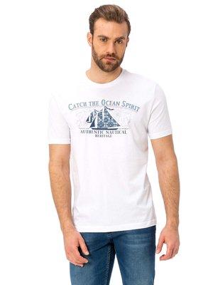 Белая мужская футболка LC Waikiki / Лс Вайкики с кораблем и надписью Сatch the ocean spirit на груди