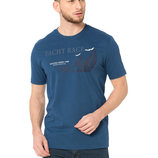 Синяя мужская футболка LC Waikiki / Лс Вайкики с кораблем и надписью Yacht race на груди