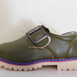 Стильные туфли хаки для мальчика р.21-26