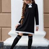 Школьное платье на девочку с кружевом