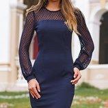 Платье приталеного силуэта креп-дайвинг скл.1 арт. 44126 рукав сетка