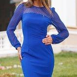 Платье приталеного силуэта креп-дайвинг скл.1 арт.44125 рукав сетка
