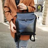 Шикарный кожаный рюкзак-сумка трансформер -городской, повседненый
