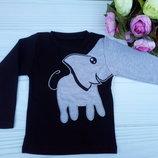 Реглан для мальчика и девочки черный со слоником размер 28,30,32,34