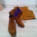 Фирменные стильные мужские ботинки броги из замши. Нидерланды. Floris premium.
