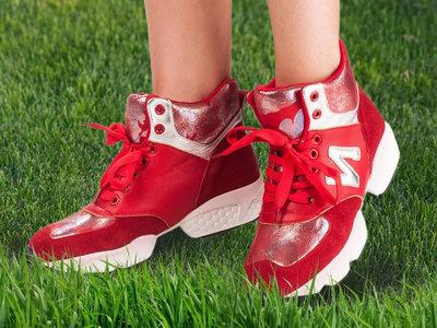 Супер Модный Спортивный Стиль Натуральная Кожа Кроссовки Ботинки Для Яркой Модницы