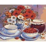 Картина по номерам. Букеты Приглашение на чай 40х50см KHO2029