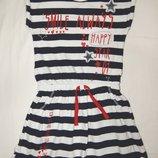 Трикотажное платье George в сине-белую полоску. На девочку 7-8 лет. Рост 122-128 см.