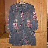 Серая блузка с розовыми цветами, размер М