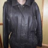 Куртка женская кожаная с капюшоном турция б/у цвет синий баклажан