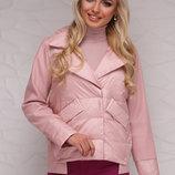 Куртка 18-006 короткая куртка на весну-осень скл2.Цвет пудра