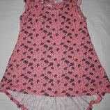 Трикотажное морковное платье F&F со слониками по всей ткани. На девочку 6-7 лет.