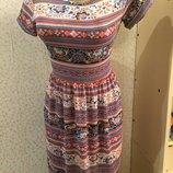 Летнее платье мини с узором в стиле casual от booho наруральная ткань качество отменное Boohoo