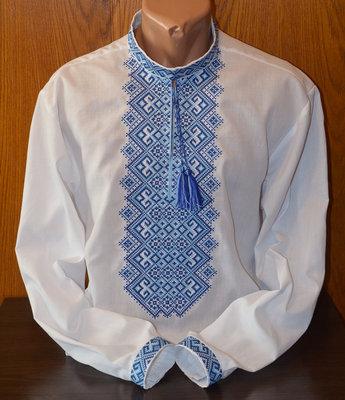 Расширенный Вышиванка мужская сине-голубая