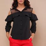 Блуза Эрика Д/р черная блузка с воланом скл.2 Цвет черный
