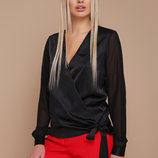 Блуза Божена Д/р черная блузка с запахом скл.2 Цвет черный