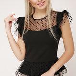 Блуза Лайза Б/р черная блузка с баской скл.2 Цвет черный