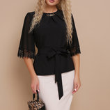 Блуза Карла Д/р нарядная черная блузка скл.2 Цвет черный
