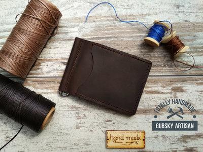 Зажим для денег портмоне для купюр из натуральной кожи