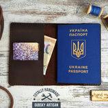 Обложка для паспорта чехол для документов и карт из кожи
