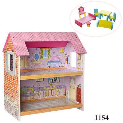 Домик для кукол 1153 1154 деревянная игрушка дом с мебелью