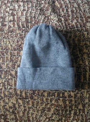 Мужская шапка с отворотом Очень теплая вязаная двойная шапочка новая