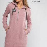 Нежное, уютное, мягкое Платье-Туника Тори Розовое. Размер 46.