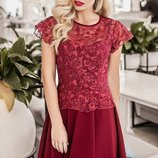 Платье нарядное вышивка на сетке креп-дайвинг скл.1 арт. 36810