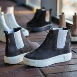Слипоны, ботинки замшевые челси