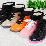 Стильные резиновые ботинки с утеплителем В Наличии