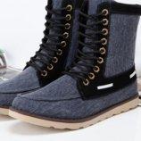 Стильные джинсовые высокие ботинки кеды