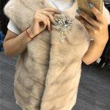 Ноорковая жилетка 70 см бежевая Мех - натуральный
