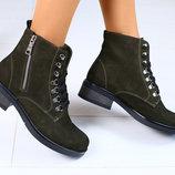 Демисезонные женские ботинки кожа