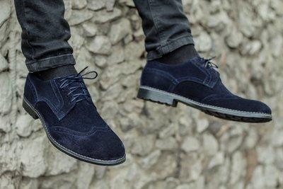 Новинка. Топ качество. Мужские замшевые туфли броги 1620 синий
