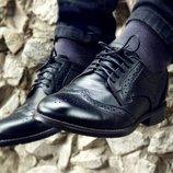 Новинка. Топ качество. Мужские кожаные туфли броги черного цвета 082