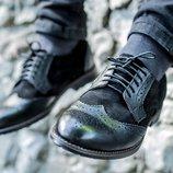 Новинка. Топ качество. Мужские туфли броги кожа-замша черного цвета 082
