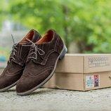 Новинка. Топ качество. Мужские замшевые туфли броги 1620 коричневый