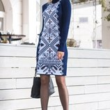 Теплое вязаное платье-вышиванка Ольга