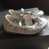 Балетки туфли детские серебристые с напылением Next, размер 6 англ, 23 наш