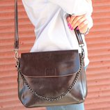 Красивая сумочка-клатч из натуральной кожи, коричневая