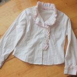 Нежная рубашка-блуза для девочки белая,нежно-розовая школьная