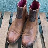Высокие броги,ботинки,полуботинки,коричневые от P.I.U.R.E-кожа-42р